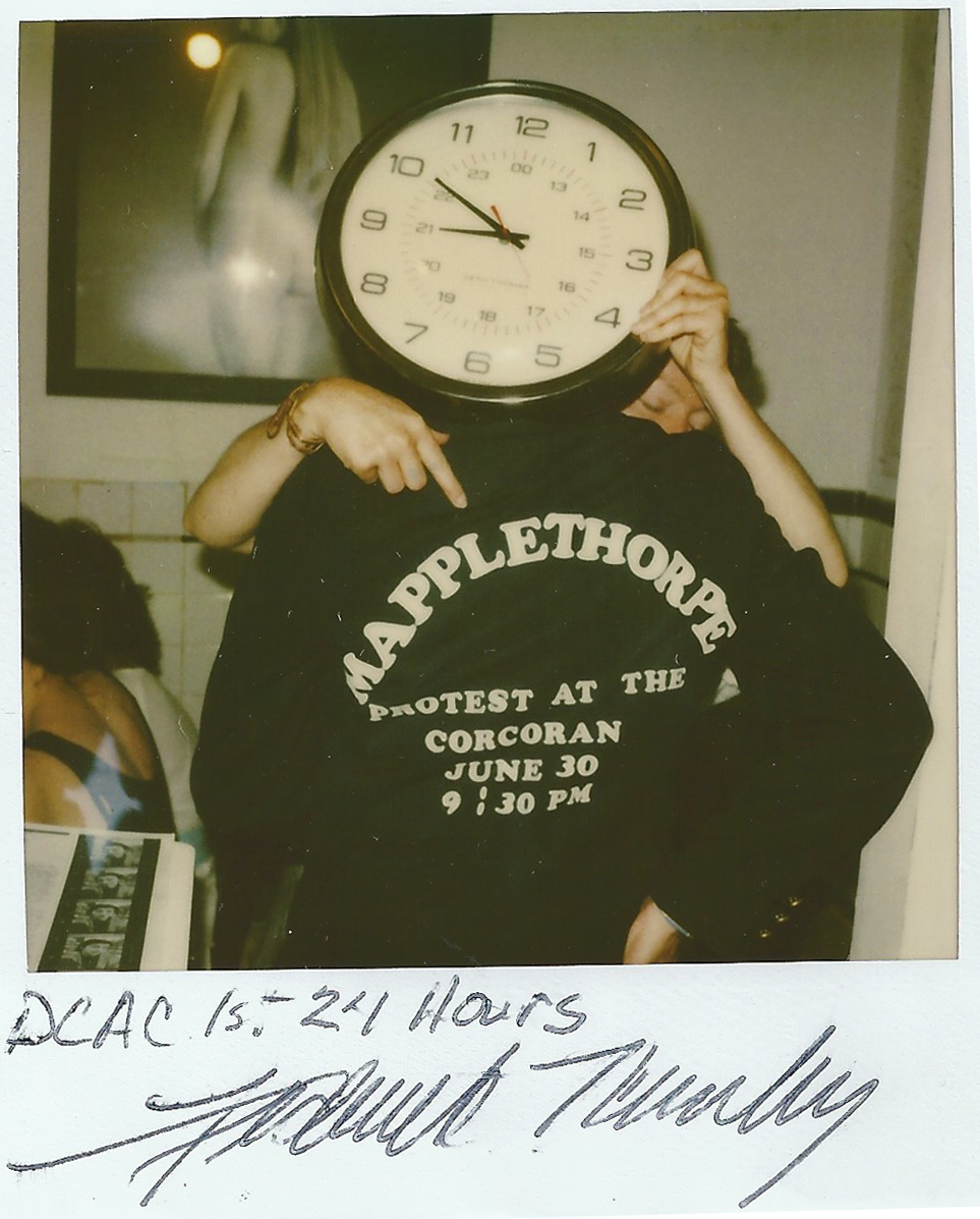 Opening night for DCAC. Advertising Mapplethorpe Rally June 30th, 1989